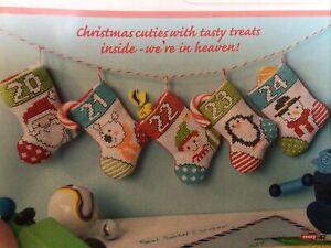 (X5) Mini Stocking Advent Calendar Santa Penguin Christmas Cross Stitch Chart