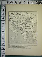 1915 WWI WW1 MAP ~ GREECE BULGARIA ITALY AREA WANTED BY ROUMANIA BULGARIA