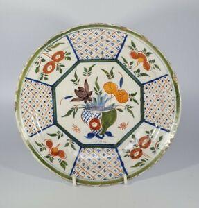 An Unusual 18th Century Dutch Delft Tin Glazed Polychrome Plate