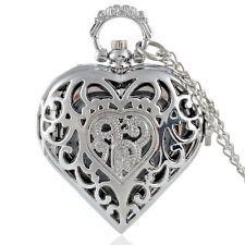 New Silver Heart Pocket Watch Quartz Necklace Chain Hollow Pendant Vintage Retro