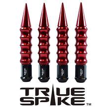 "24 TRUE SPIKE 175MM 1/2"" STEEL LUG NUTS RED RIBBED SPIKES FOR DODGE DAKOTA"