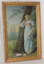 Antique VICTORIAN Romantic WOMAN in BLUE Dress 'HESITATION' LOVE Framed c1902