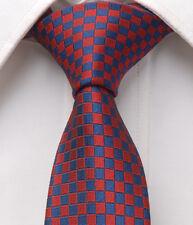 "Dark Red Blue Checkers Mens Skinny Slim Narrow Woven Silk 2.5"" Wedding Tie LT258"