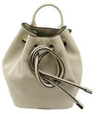 Michael Kors Dalia Backpack Bag Cement Grey Beige Leather Drawstring Large