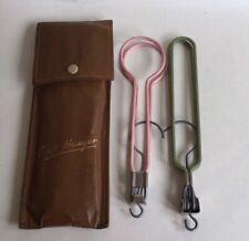 Pair Vintage 1940s Folding Coat Hangers Tan Faux Leather Case Travel Collectible