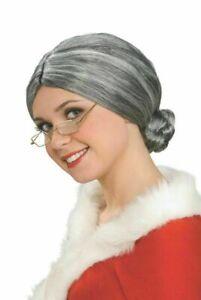Womens Mrs.Claus Granny Wig Hair Gray Bun Librarian Old Lady Grandma Adult Grey