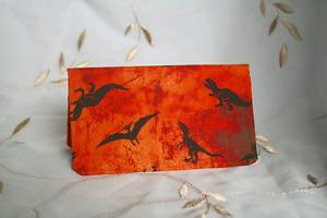Checkbook Cover Orange with Dinosaurs  Handmade Sturdy 100% Cotton Fabric