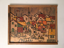 Antonio Vitali Jigsaw Puzzle wood Toy Village Theme - Rare Vintage Swiss Design