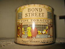 Vintage Tobacco Tin Can Container Bond Street by Philip Morris Co. 1950's Empty