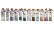 1 Set 12 Glass Wish Bottle Natural Gemstons Crystal Lucky Wishing Bottle Decor