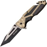 "Tac Force 8 1/4"" Black/Tan Assisted Open Military Tactical Hunting Folding Knife"