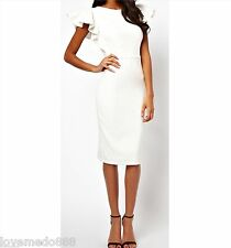 Women Career Celebrity Wear to Work Club Party Pencil Shift Midi Dress WHITE 2XL