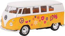 voiture miniature combi VW 1963 T1 Bus WELLY Modele S 1:43 orange à fleurs