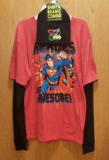 Justice League Boy's Shirt and Beanie Combo 2X (18) Long Sleeve Superman Nwt