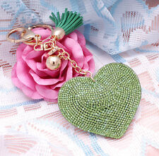 Hot Fashion 800+ Crystals Rhinestones Green Heart For Women Keyring Handbag Bag
