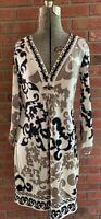 Hale Bob Silk Dress Black Cream Taupe Flared Sleeves V-neck Womens S EUC Jeweled