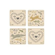 Cooksmart Woodland Set of 4 Squares Coasters Table Drink Cup Mat Coffee Dining