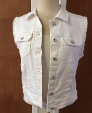 AG ADRIANO GOLDSCHMIED size Med white frayed sleeve denim jean vest NWT