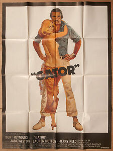 "'QATOR' FRENCH VINTAGE 1976 CINEMA POSTER FEATURING BURT REYNOLDS 63"" x 47"""