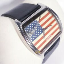 Men Fossil Watch Jr8225 Usa Flag Face Silver Steel Case Black Leather Band 50m