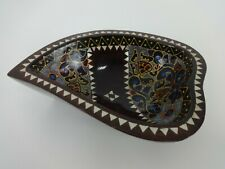 More details for kava kumete bowl vintage handmade fiji oceanian wooden mother of pearl painted