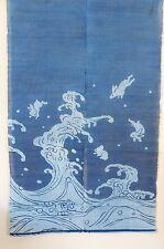 WE0964, Japanese Noren, linen, blue door way curtain, rabbits jumping over wave