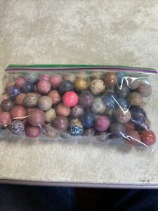 One bag of Antique dyed Clay And Clay Marbles