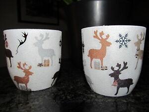 2er Set handgefertigte Teelichte Weihnachten Rentiere braun silber  *NEU*Unikat