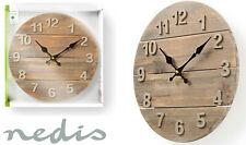 Nedis Wooden Rustic Distressed Wall Clock 30cm Diameter Shabby Chic Kitchen