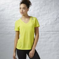 Reebok Workout Ready Stacked Logo Supremium Tee Size S Yellow RRP £22 BNWT