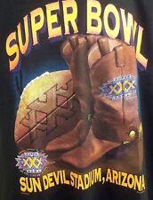 Vintage NFL Super Bowl 30 XXX Arizona Cowboys Steelers Black T Shirt 1995 L