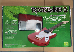 Rock Band 3 Fender Mustang Pro Wireless Guitar Controller Xbox 360 Strings RARE