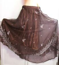 Used Belly Dance Costume- 2 Pc Skirt Set - Brown Embroidery Sequin Sheer & Solid