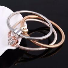 Multi Layer Rhinestone Hearts Bracelet Bangle Set Silver,Gold,Rose Crystal Gift