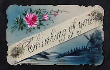 C1916 French plastic card - Flowers/ silk banner 'Thinking of you'