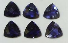 5.75ct Lot 6pcs Zambian Blue Purple Iolite Checkerboard Trillion Cut 7mm SPECIAL