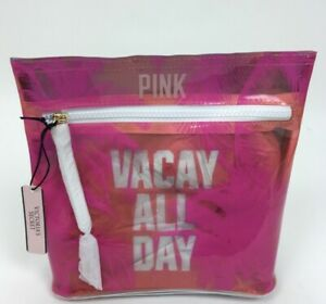 """NEW VICTORIA'S SECRET Pink """"VACAY ALL DAY"""" Makeup BEACH Clutch Bag Zip Pouch"""