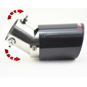 63mm Adjustable Angle Car Exhaust Pipe Tip Cover Real Carbon Fiber Glossy Black