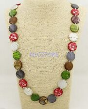 """20mm Multi Color Coin shell mother of pearl strand necklace jewelry 32"""" long"""