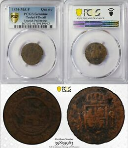 1834 MA F Spain/Philippines Quarto ~ PCGS F Details ~ KM#10 ~ 9963