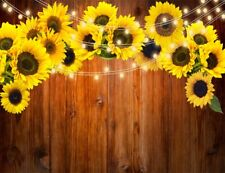 7x5ft Sunflower Blossom Rustic Wood Plank Vinyl Backdrop Studio Photo Background