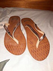 ROXY Faux Leather Flip Flop Sandals for