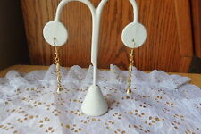 Earrings Post Long Dangle Gold Chain with Pearls NWT Very Long 4 inches length