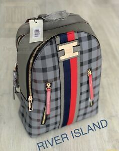 🆕River Island Backpack Bag Grey Tartan Monogram Rucksack Brand New With Tags💖