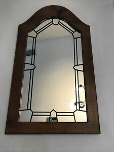 "Cathedral Window Wall Mirror Black-lined W/brown Wood Frame 24x13.5"" Vintage"