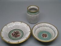 Authentic Dahl Jensen Royal Copenhagen Denmark Crackle Glaze Vase & Bowl +1 MCM