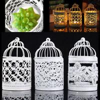 White Metal Hollow Candle Holder Tealight Candlestick Hanging Lantern Bird Cage