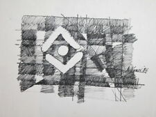 1986 AVANT GARDE CUBIST INK PAINTING SIGNED