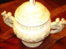 Vintage Stunning White& Green Pottery Porcelain Ern / Vase W/Lion Handles - 1975