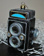 NEW Vintage Style CAMERA PHOTOGRAPH  X-mas Glass Blown Ornament Black/Silver